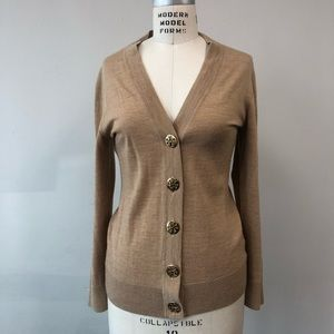 Tory Burch Simone Cardigan Tan with gold buttons